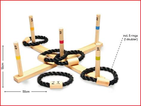 houten ringwerpspel met een afmeting van 50 x 50 x 10 cm