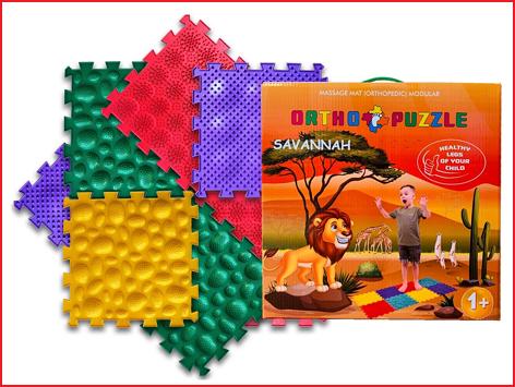 de ortho puzzel savannah bestaat uit 8 orthopedische voetmatten