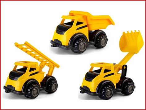 een voertuigenset van Viking Toys bestaande uit 3 mighty trucks
