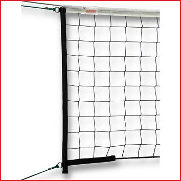 een volleybalwedstrijdnet conform EN 1271 met een draaddikte van 3 mm en een 4-puntsophanging