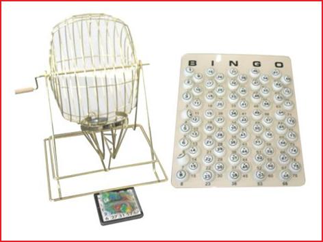 koperen bingomolen XL met 75 ping-pong ballen (40 mm)