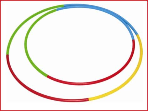sterke driekleurige gymnastiekhoepel met een diameter van 75 cm