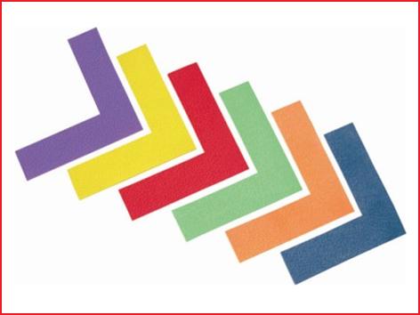 set van 6 antislip vloermarkeringsstrips in de vorm van een hoek