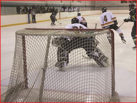 een paar ijshockeydoelnetten voor doelen met een gebogen frame conform IIHF