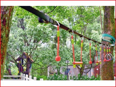 een ninja line set met obstakels