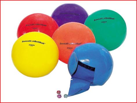 een set van 6 bel ballen geleverd in een kleurenassortiment