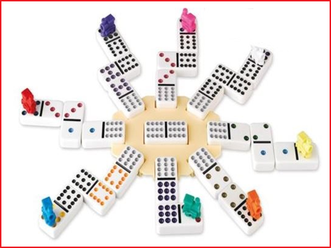 domino mexican train bevat 91 dominostenen (52 x 26 x 10 mm) met gekleurde punten