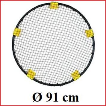 het net van de Spikeball standaard heeft een diameter van 91 cm