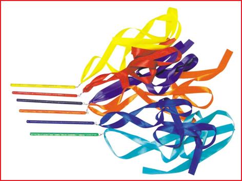 set van 6 gekleurde stokken met lint 180 cm