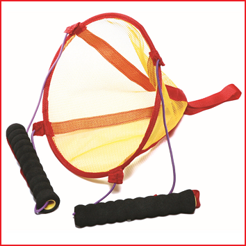 de teamlaucher is een soort katapult om lichte ballen weg te schieten