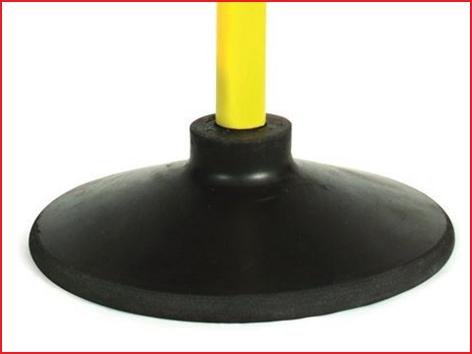 een zwaardere rubberen basis voor gymnastiekstokken met 25 mm diameter
