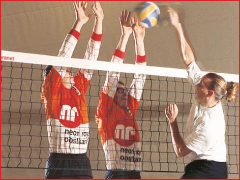 volleybaltrainingsnetten met een ommantelde staalkabel van 11,70 m