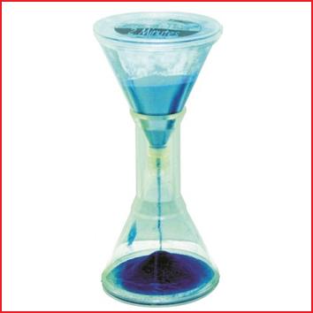 een sterke kunststof zandloper van 2 minuten