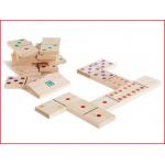 een grotere houten domino met 28 dominostenen