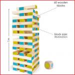 de Jenga groot bestaat uit 60 houten blokken van 20 x 4,5 x 2,5 cm