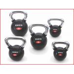rubberen kettlebells met een verchroomde handgreep