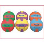 een set van 6 kleurrijke volleyballen in cellulair rubber