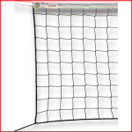 een volleybaltrainingsnet in sterk polypropyleen met een draaddikte van 2,5 mm