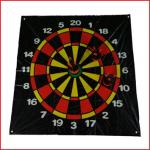 dartsset bestaande uit een dartskleed in pvc van 120 x 100 cm, 6 pittenzakjes en 4 grondpinnen