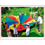 polyester geweefde spelparachute van 300 cm met genummerde doelen huren