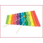 een houten xylofoon met 12 gekleurde toonplaatjes