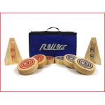 huren van een houten spel bestaande uit 2 doelen en 6 schijven
