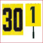 een dubbelzijdig wisselbord met cijfers van 1 t/m 30