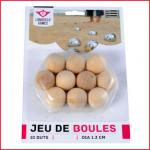een set van 10 houten buts voor petanque of jeu de boules