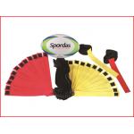 tag rugby set bestaande uit een rugbybal en 24 armlinten in 2 kleuren
