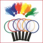 een set van 6 initiatie rackets en 6 doekballen