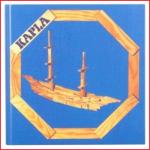 een blauw voorbeeldboekje van Kapla met tal van constructies