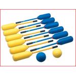 knotshockey bestaande uit 12 knotshockeysticks en 2 zachte ballen