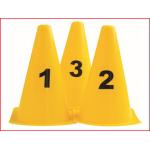 set van 10 gele markeringskegels met cijfers