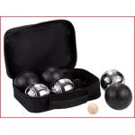 een petanque set met 6 petanqueballen in 2 verschillende kleuren