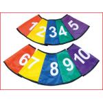 een set van 10 gekleurde en genummerde kegelhoezen