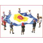 een spelparachute van 3,6 meter met een centraal doel