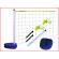 een volleybalset zwembad bestaande uit 2-delige PVC palen, 2 te verzwaren voeten en een volleybalnet